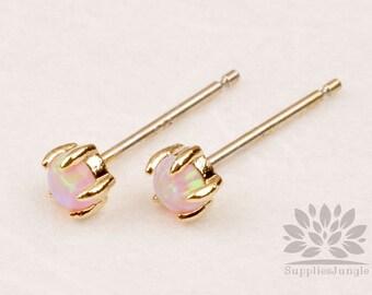 E318-PI-G / / or encadré 3mm Rose opale argent Post boucle d'oreille, 1 paire