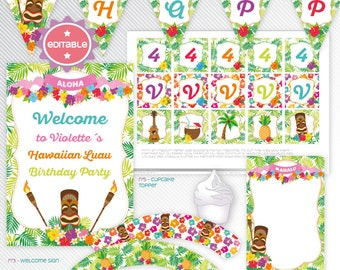 Hawaiian Luau - editable printable party decoration package - INSTANT DOWNLOAD - A4 & LETTER