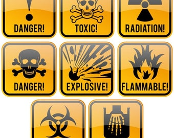 Toxic symbol etsy signs authority decal stickers hazard danger toxic radiation symbol 200 pieces funny gag gifts or altavistaventures Gallery