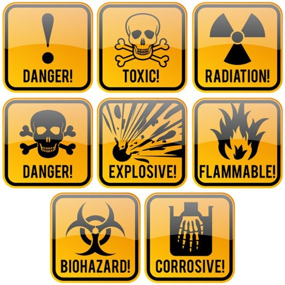 Signs Authority Decal Stickers Hazard Danger Toxic Radiation