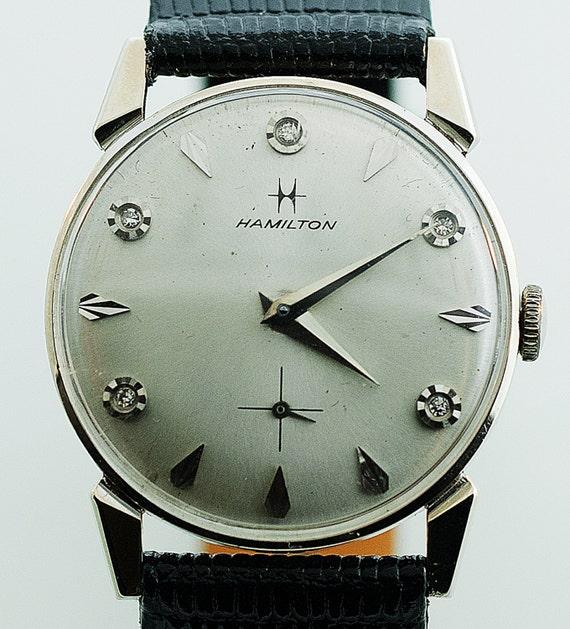 Very best Vintage 14k White Gold and Diamond Men's Hamilton Watch FL17