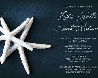 25 cards per set- wedding card invitations  - White Starfish
