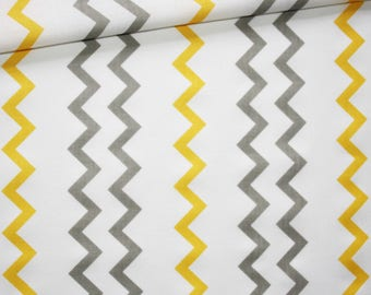Chevron gray, yellow, 100% cotton fabric printed 50 x 160 cm, zig zag pattern, chevron