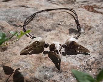 Resin bird skulls pendant, larp, pendant, viking , witch necklace. Postapocalyptic costume jewelry. Crow skulls collar, fantasy accessory,