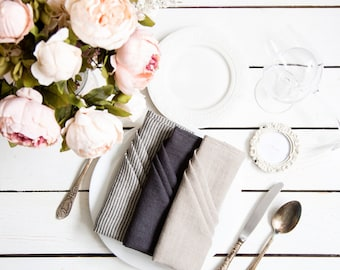 Linen  Cloth Napkins bulk -  Washed linen napkins