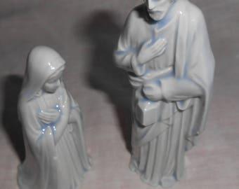 Mary Joseph Vintage Hand Painted Ceramic Christmas  Nativity Initials CA