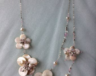 Pearl, Mother of Pearl & Crystal Necklace