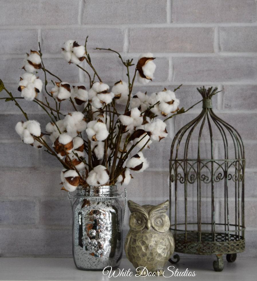 Farmhouse cotton stem arrangement in mercury glass mason jar zoom reviewsmspy