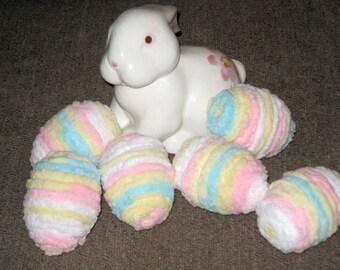 """Set of 6 """"Chenille"""" Pastel Easter Eggs"""