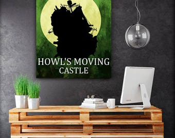 Poster anime art, Studio Ghibli posters, Howl moving castle poster art, Home decor, anime prints, Hayao Miyazaki wall decor, kids gift