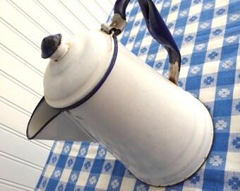 Enamelware Coffeepot White Enamel Blue Trim Vintage Primitive 1940s Chippy Rustic Country Farmhouse