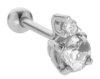3.5mm Birthstone Diamond Accent 14k White Gold Cartilage Earring