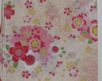 Japanese Cotton Fabric 50cm / Handkerchief - White/Yellow Floral Sashiko