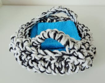 White and grey crochet basket: diaper, wipes, baby storage