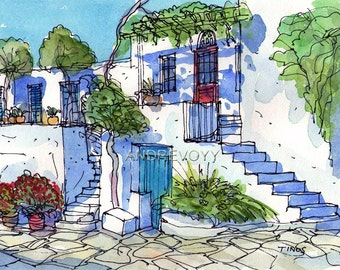 Tinos Square Greece print from an original watercolor painting