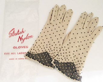 Vintage Beaded Stretch Gloves Hong Kong Wedding