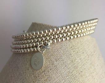 Sterling silver dainty memory wire bracelet