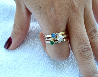Mothers Ring - 14k Gold - 3 Stacking Bands w/ Gemstones - Family Ring - Stackable Rings - Gemstone Rings -14k Gold