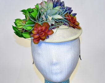 Succulent, White, Sinamay Kentucky Derby Fascinator