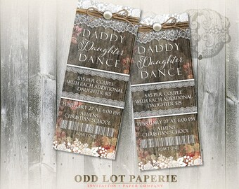 Daddy Daughter Dance Invitation, Rustic Spring Invite, Floral, Pearls and Lace, School Dance DIY Invite, Party Ticket, Ticket Invitation