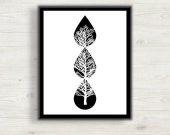 Black and White Minimalist Poster, Black and White Tree Wall Art Picture, Digital Art, Print at Home, Home Decor, Office Decor,