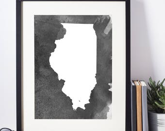 Home Decor, Wall Art, Watercolor, Illinois Black and White Art Print, Illinois Wall Decor,   Digital Download, Modern Art