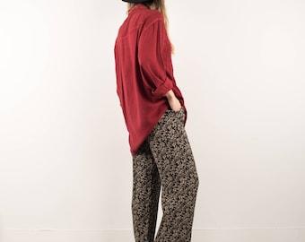 AMAZING Vintage Black and Beige Floral Elastic Waist Crinkle Pants / S / boyfriend pants festival trousers boho summer pants