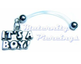 Pregnancy Belly Ring Pewter It's a Boy or It's a Girl   Softest ULTRA Flexi Bar