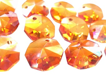 50 Iridescent Peach 14mm Octagon Chandelier Crystals Beads Pumpkin AB