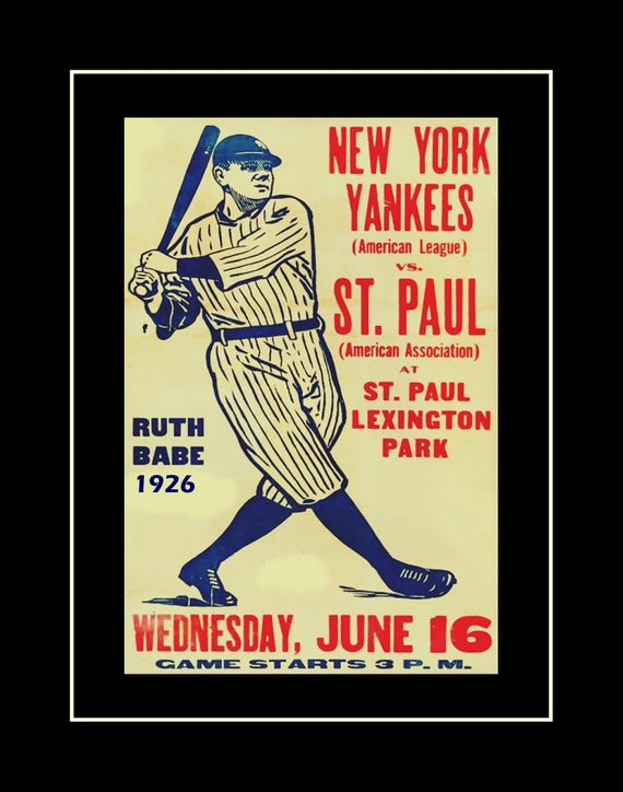 Vintage Baseball Poster Babe Ruth Illustration Wall Art New