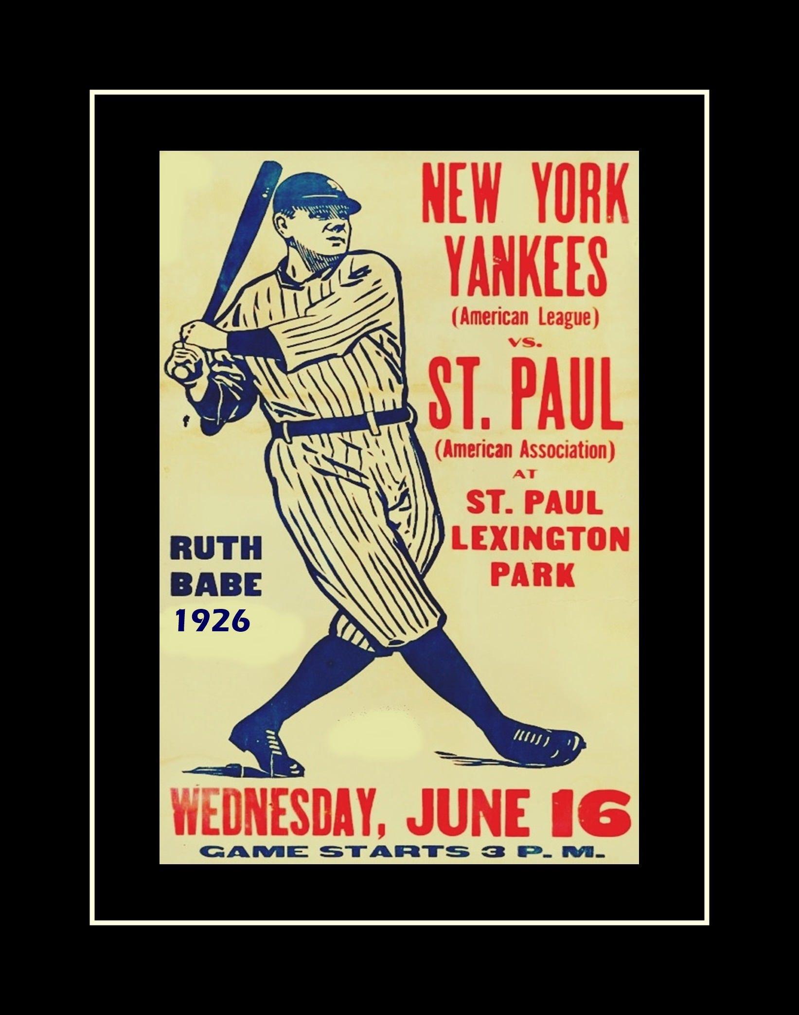 Vintage Baseball Poster Babe Ruth Illustration Wall Art New