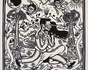 Vintage Mexican Artemio Rodriguez 'Ay! Amorcito' 1994 Signed Linocut Print Edition 25/25