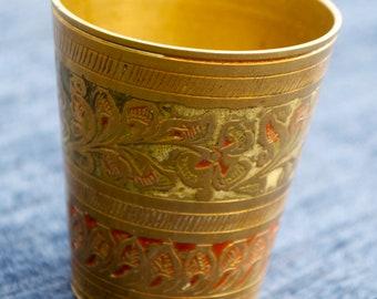 Vintage Indian Lassi Cup  Solid Brass 5cm diameter