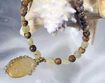 Artistic Wire Wrapped Pendant on Picture Jasper  Necklace