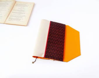 Protects-pocketbook adjustable fabric with bookmark (graphic/marron_beige_orange patterned fabric)