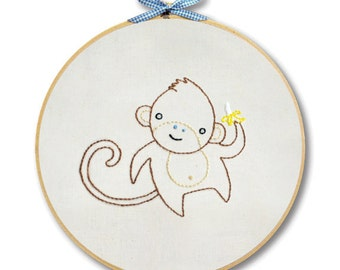 KIT embroidery monkey wall art