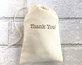 Thank You Favor Bag Muslin Bag Party Favor Baby Shower Wedding Welcome Goodie Candy Bag Birthday Bridesmaid Bachelorette Bridal Typewriter