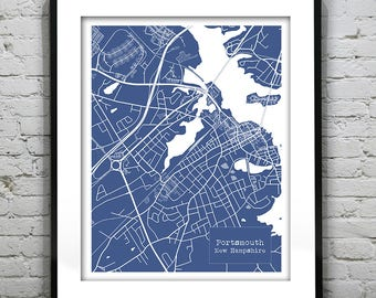 Portsmouth New Hampshire Blueprint Map Poster Art Print Several Sizes Available NH Version 2