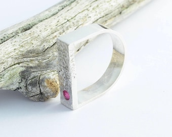 Ruby silver ring. Natural pink Ruby. Unique engagement ring. Alternative wedding. raw textured finish. Bespoke jewellery.