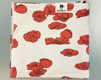 Organic Poppies Knit Baby Swaddle Blanket. Modern Receiving Blanket for New Baby. Great Baby Shower Gift, Baby Layette, or Photo Prop.