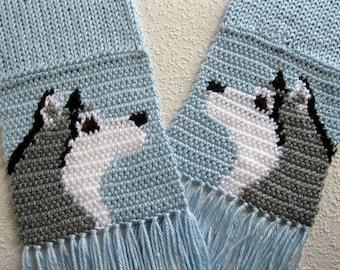 Husky Dog Scarf. Baby blue, crochet scarf with Siberian huskies.  Alaskan malamute dog scarf. Husky gift