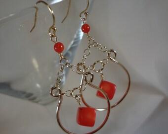 Rouge corail or rempli Hoop boucles d'oreilles (LVE77)