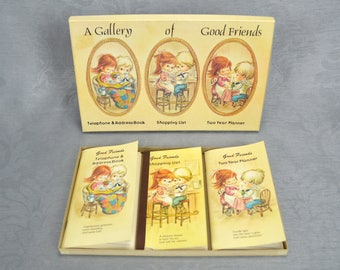 A Gallery of Good Friends - 1983-1984 - Telephone Address Book,Shopping List, Two Year Planner Set