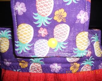 Pineapple Kitchen towel, Pineapple Hanging Kitchen Towel, Hanging Kitchen Towel, Orange Kitchen towel, Purple kitchen towel, ready to ship