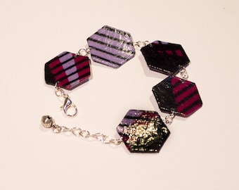 Hexagon bracelet of purple and black African fabric
