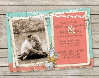 Beach Wedding Invitation, Rustic Burlap, Shabby Wood, Coral and Aqua, Shell, Starfish invitation