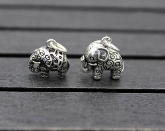 Sterling Silver Elephant Charm, Sterling Silver Elephant Pendant,Thai Silver Elephant jewelry