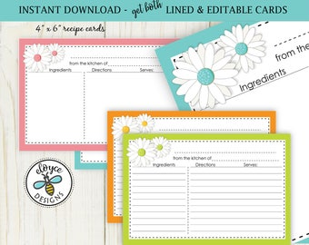 Daisy Recipe Cards 4x6 - both lined and editable cards Instant download_no 810 white daisy