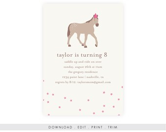Horse Birthday Party Invitation | Horse Birthday Invitation Download, Pony Birthday Invite, Pony Invitation, Kentucky Derby, Instant PDF