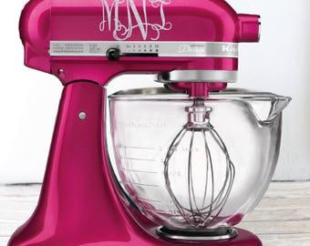 Glitter Monogram Kitchen Mixer Decal, Glitter Monogram, Glitter mixer decal, Monogram mixer decal